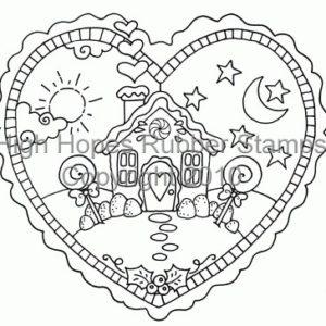 Gingerbread House in Heart