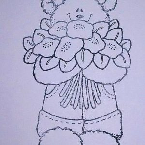 Bear with Flower Bouquet NEU