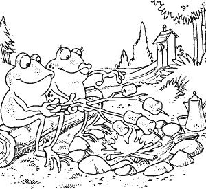 Frankie and Fay Frog Roasting Marshmallows