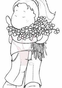 Tilda mit Blumenstrauss