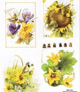 Gelbe Blumen mit Vögeln