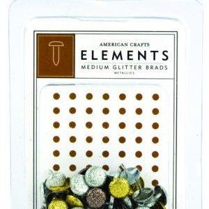 40 Medium Glitter Brads Metallic