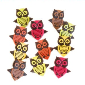 12 Owl Brads - Bright