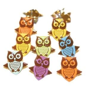 12 Owl Brads - Pastel