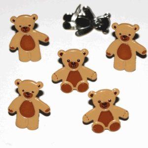 12 Teddy Bear Brads - Brown