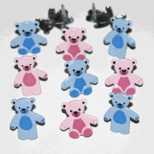 12 Teddy Bear Brads - Pink & Blue