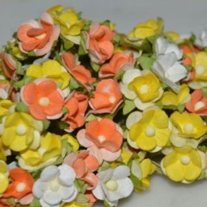 10 Paper Flowers, Yellow Mix