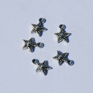 Silver Dotted Star - 5 Stk.