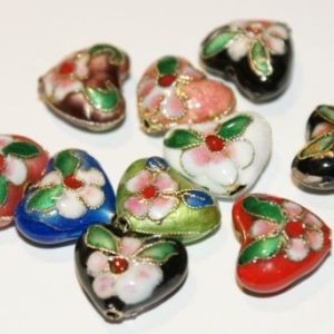 Cloisonne - Heart Beads - 5 Stk.