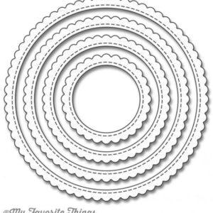 Stitched Scallop Edge Frames Circle