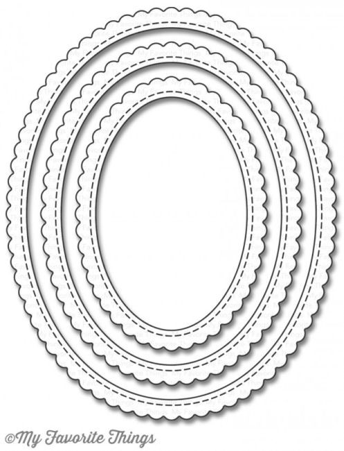 Stitched Scallop Edge Frames Oval