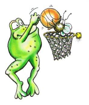 A & B spielen Basketball