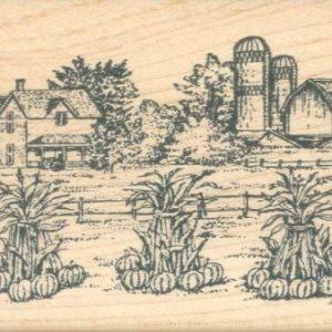 Fall Farm Scene with Cornstalks
