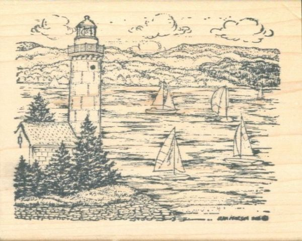 Lighthouse with Pines & Sailboat