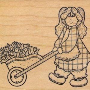 Girl with Flowers in Wheelbarrow