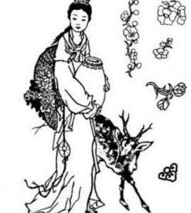 Set: Chinesin mit Reh / Ornamenten