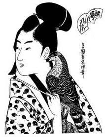 Set: Geisha mit Vogel
