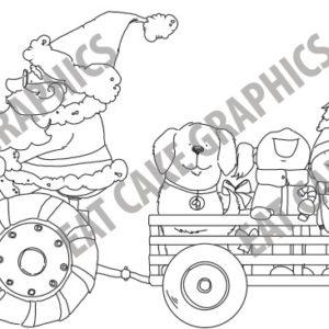 Santa Riding John Reindeere Tractor